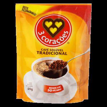 imagem de CAFE 3 CORACOES SOLUVEL REFIL 50G